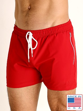 Model in red LASC Zippered Pockets Stretch Woven Gym Shorts