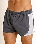 LASC Pique Mesh Lined Running Shorts Charcoal/Silver, view 3