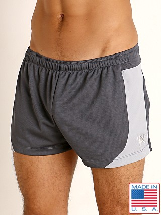 Model in charcoal/silver LASC Pique Mesh Lined Running Shorts