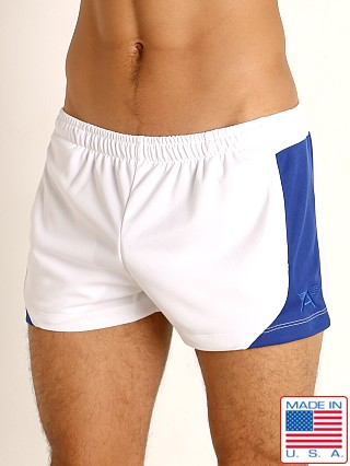 Model in white/royal LASC Pique Mesh Lined Running Shorts