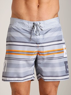 Diesel Mark Striped Swim Shorts Grey