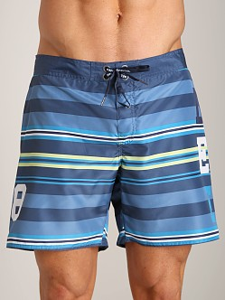 Diesel Mark Striped Swim Shorts Teal