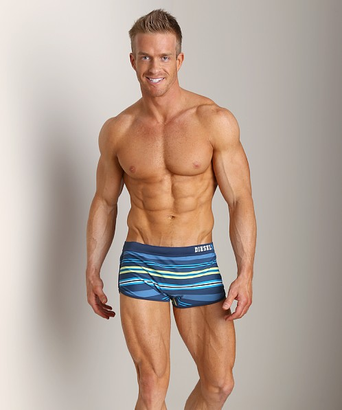 Diesel Treko Striped Swim Shorts Teal