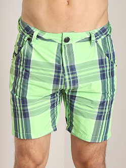 Diesel Kroobeach Plaid Board Shorts Lime/Green