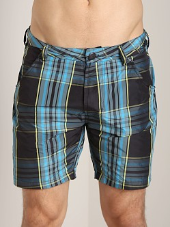 Diesel Kroobeach Plaid Board Shorts Navy/Turquoise
