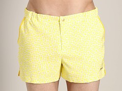 Parke and Ronen Angeleno Plaid Swim Short Labyrinth Yellow