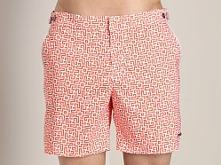 Parke and Ronen Catalonia Print Swim Short Labyrinth Red