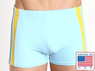 Sauvage Freestyle Nylon Lycra Swim Trunk Aqua/Yellow