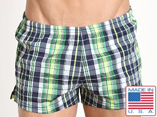 Sauvage Como Italia Plaid Swim Trunks Navy/Lime