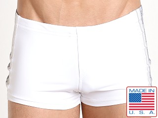 Model in white Sauvage Classic Stripe Swim Trunk