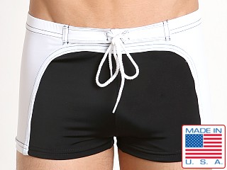 Sauvage Surfer Square Cut Swim Trunk Black/White