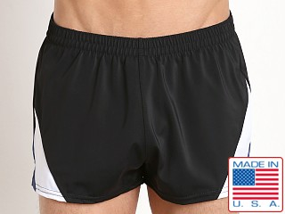 Sauvage European Nylon Lycra Color Block Swim Trunk Black