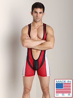 Pistol Pete Power Pouch Mesh Singlet Red