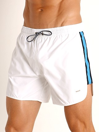 Model in white Hugo Boss Shiner Swim Shorts