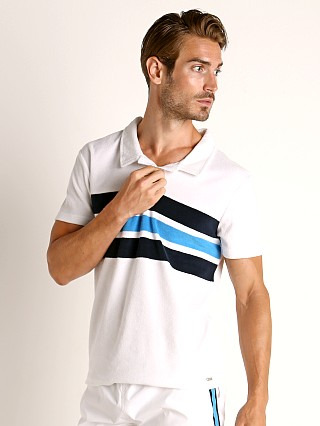 Model in white Hugo Boss Terry Beach Polo Shirt