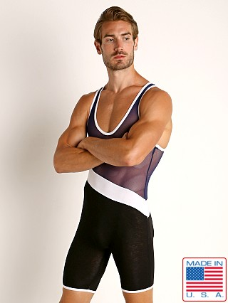 Model in navy combo American Jock Elite Sport Sport Tri-Color Singlet
