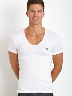 Emporio Armani Italian Flag Stretch Cotton V-Neck Shirt White