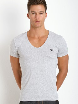 Emporio Armani Italian Flag Stretch Cotton V-Neck Shirt Melange