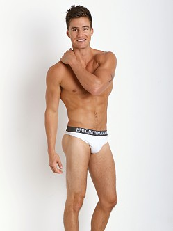 Emporio Armani Colored Stretch Cotton Thong White