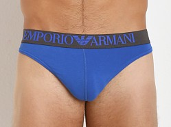 Emporio Armani Colored Stretch Cotton Thong Royal Blue