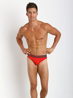 Emporio Armani Colored Stretch Cotton Thong Fluo Red