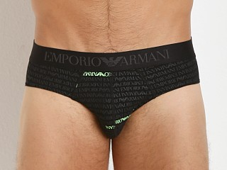 Emporio Armani All Over Logo Stretch Cotton Brief Black