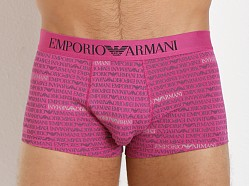 Emporio Armani All Over Logo Stretch Cotton Trunk Fuxia