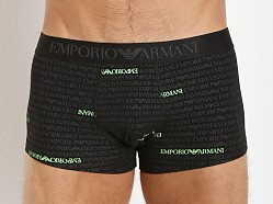 Emporio Armani All Over Logo Stretch Cotton Trunk Black
