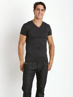 Emporio Armani Fashion Yarn Dyed V-Neck Shirt Black