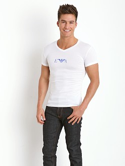 Emporio Armani Pop Logo Stretch Cotton V-Neck Shirt White