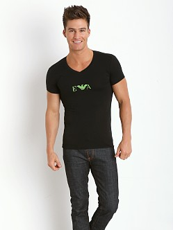 Emporio Armani Pop Logo Stretch Cotton V-Neck Shirt Black