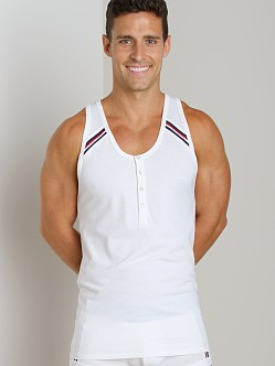 2xist Athletic Henley Tank Top White