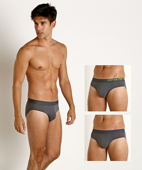 Emporio Armani B-Side Logo 3-Pack Brief Anthracite/Anthracite/An