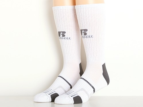 Russell Athletic Performance Crew Socks 3-Pack White/Stealth Gre