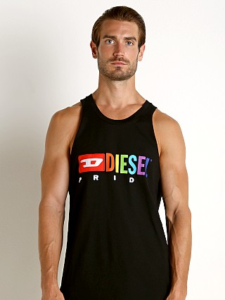 Model in black Diesel Rainbow Locoarm Tank Top