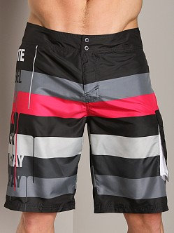 Diesel Deck Stripe Board Shorts Black