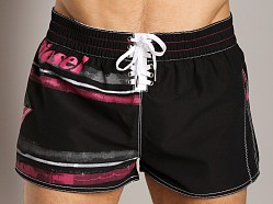 Diesel Coralrif Striped Graphic Swim Shorts Black