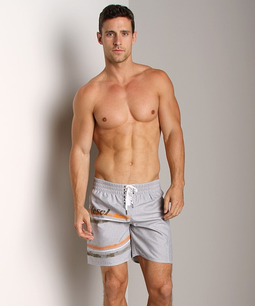 Diesel Blansrif Striped Graphic Swim Boxer Grey