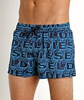 Diesel All Over Logo Sandy Swim Shorts Blue, view 3
