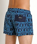 Diesel All Over Logo Sandy Swim Shorts Blue, view 4