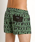 Diesel All Over Logo Sandy Swim Shorts Green, view 4