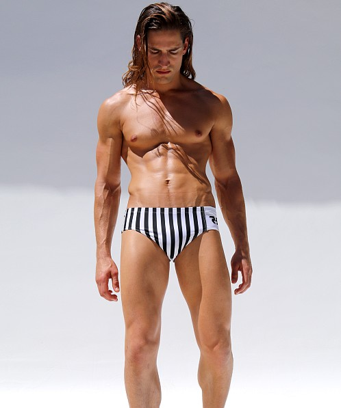 Rufskin Hustle R-Sport Swim Brief Stripes/White