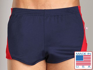 American Jock Track Short Navy/Red