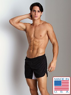 American Jock Olympian Short with Built-in Jock Black/White