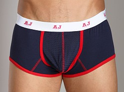 American Jock Mesh Square Cut Boxer Navy/Red