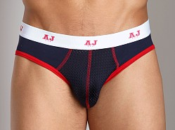 American Jock Mesh Backless Brief Navy/Red