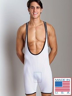 American Jock Mesh Scoop Neck Wrestling Singlet White/Black