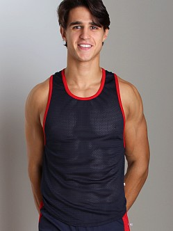 American Jock Mesh Scoop Tank Top Navy/Red
