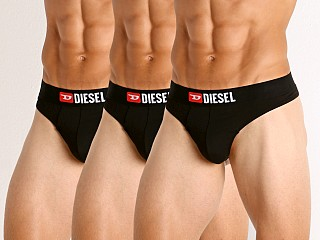 Model in black/black/black Diesel String Thongs 3-Pack