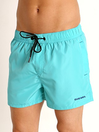 Model in aqua Diesel Sandynew Swim Shorts